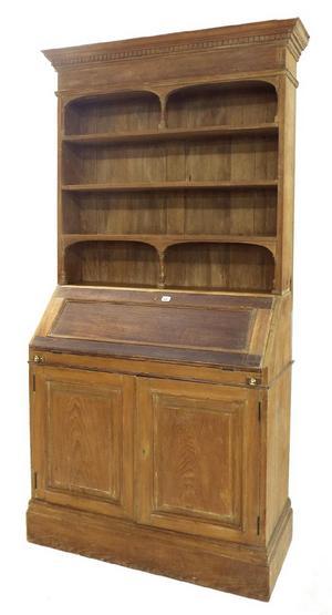 Pitch pine bureau bookcase