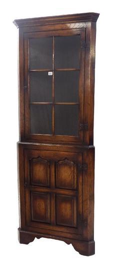 Antique style reclaimed oak corner cupboard