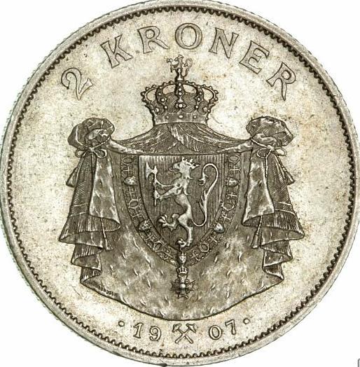 """Norway, Haakon VII, 2 kr 1907, """"Norway's Independence"""", NM 4"""