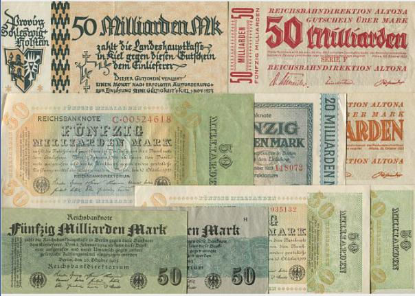 Germany, collection of inflation banknotes in large denominations, incl. 50 milliarden mark, Pick 120a