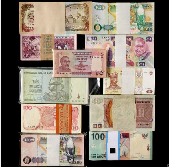 Collection of banknotes from Afghanistan, Bangladesh, Burma, Indonesia, China, Moldova, Zambia
