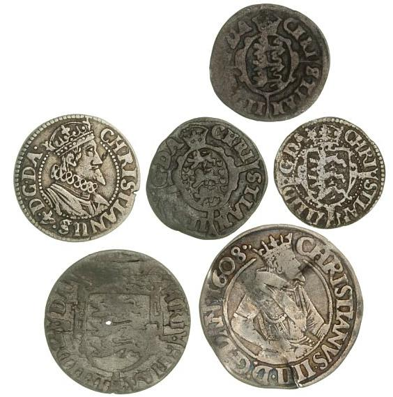 Christian IV, collection of 6 different coins