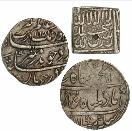 India, Mughal Empire, 3 Rupees from Muhammad Akbar 1556-1605