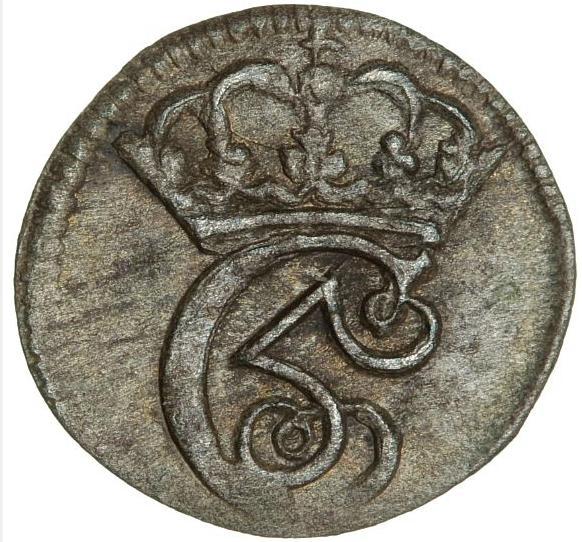 """Christian V, hvid 1686, H 87, S 42, Sieg 1.2 - nice example of the last Danish """"hvid"""" (witten)"""