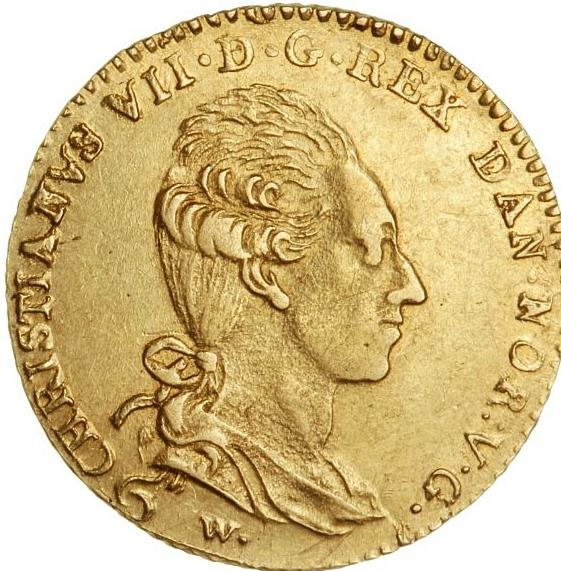 Christian VII, kurantdukat / 12 mark 1782 W/CHL, Altona, H 4A, F 281 - nice example of this elusive type
