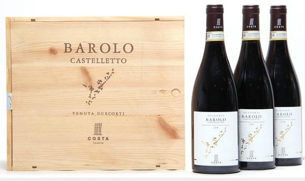 """12 bts. Barolo """"Castelletto"""", Duecorti Tenute Costa 2008 A (hf/in). Owc."""