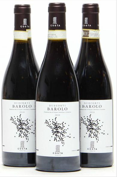 12 bts. Barolo, Duecorti Tenute Costa 2010 A (hf/in). Oc.