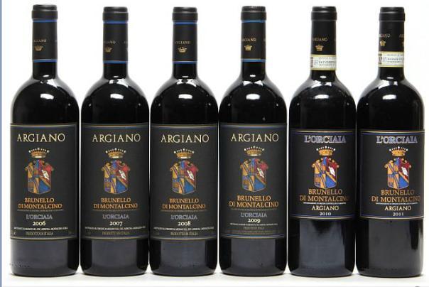 "1 bt. Brunello di Montalcino ""L'Orciaia"", Argiano 2006 A (hf/in). etc. Total 6 bts."