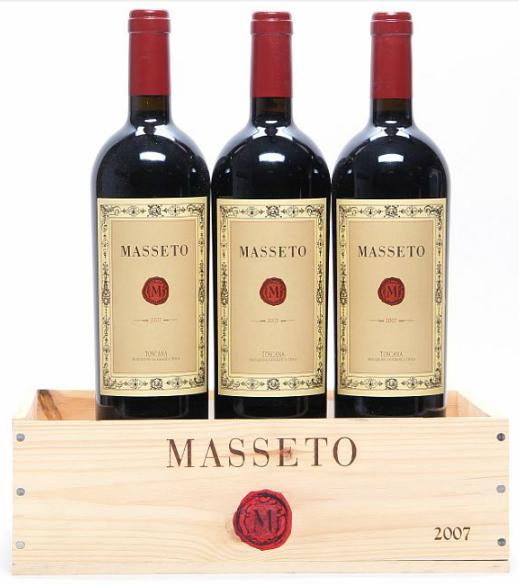 3 bts. Masseto, Tenuta dell'Ornellaia, Toscana IGT 2007 A (hf/in). Owc.