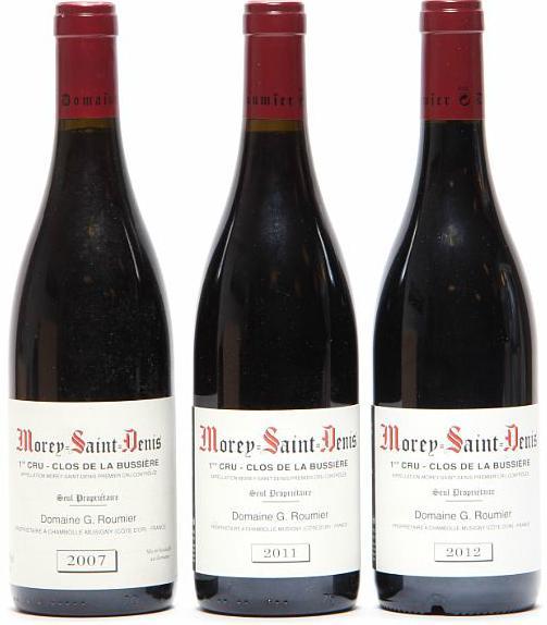 """1 bt. Morey Saint Denis 1. Cru """"Clos de la Bussiére"""", Domaine Georges Roumier 2012 A (hf/in). etc. Total 3 bts"""