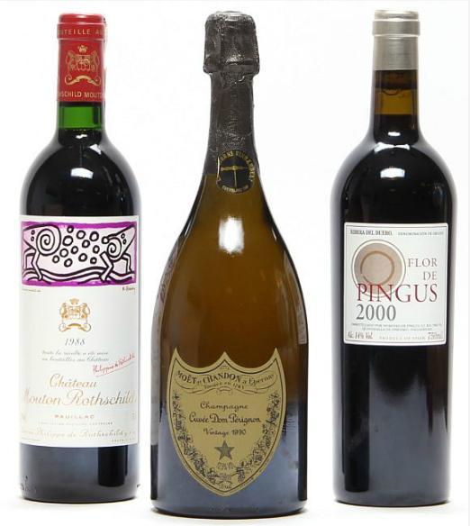 1 bt. Champagne Dom Pérignon, Moët et Chandon 1990 A-A/B (bn). etc. Total 3 bts.