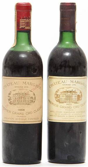 1 bt. Château Margaux, Margaux. 1. Cru Classé 1968 (Chateau bottled). B/C (us). etc. Total 2 bts
