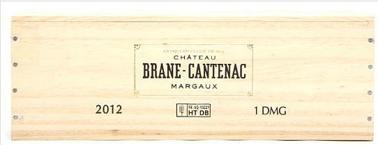 1 bt. Dmg. Château Brane Cantenac, Margaux. 2. Cru Classé 2012 A (hf/in). Owc
