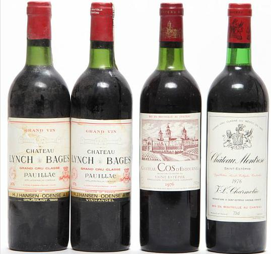 2 bts. Château Lynch Bages, Pauillac. 5. Cru Classé 1976 A/B (ts). etc. Total 4 bts.