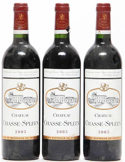 3 bts. Château Chasse-Spleen, Moulis-En-Medoc 2003 A (hf/in)