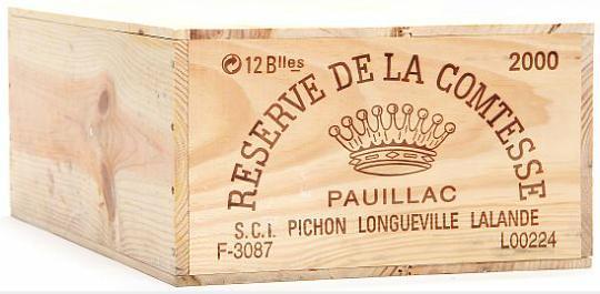 12 bts. Réserve de la Comtesse, 2wine Ch. Pichon Longueville Comtesse 2000 A (hf/in). Owc