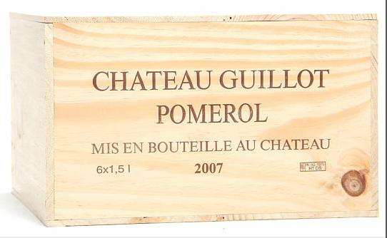 6 bts. Mg. Château Guillot, Pomerol 2007 A (hf/in). Owc.