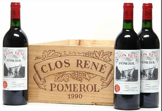 9 bts. Clos René, Pomerol 1990 A (hf/in). Owc.