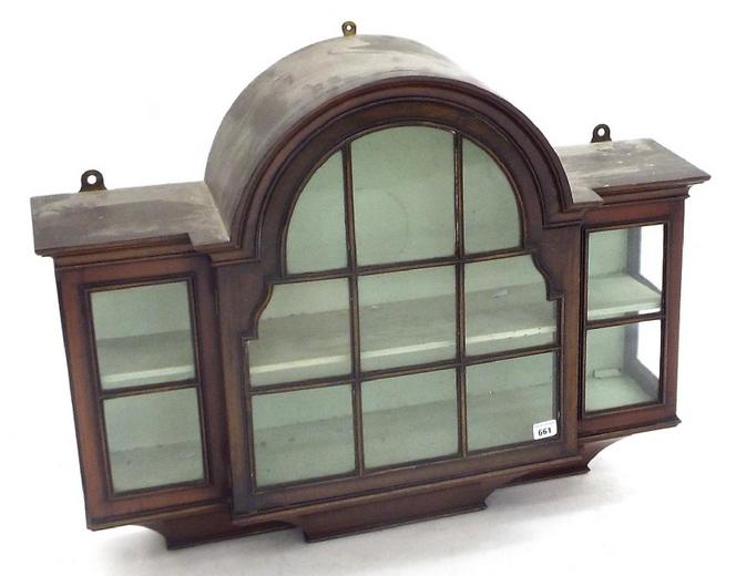 Good quality 19th century glazed breakfront hanging display cabinet with central arched panel upon a swept tapered base