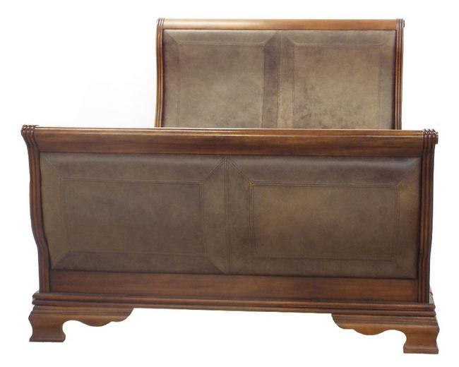 Good large modern mahogany and leather inset sleigh bed