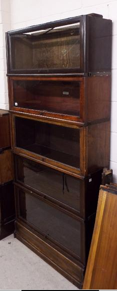 Very large collection of Globe Wernicke bookcase pieces to include glass fronted sections, further sections, tops, bases, sides,