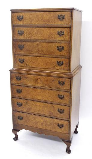 Burr walnut veneered tallboy/chest on chest