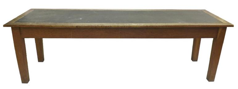 Long oak leather inset refectory table