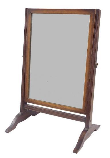 19th century mahogany swing mirror with original glass plate