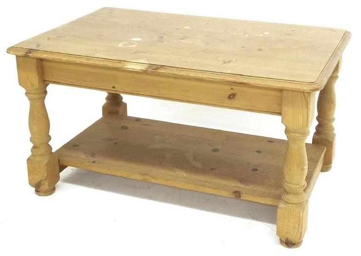 Stripped pine two tier coffee table