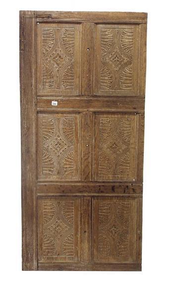 Interesting limed oak carved wooden panel