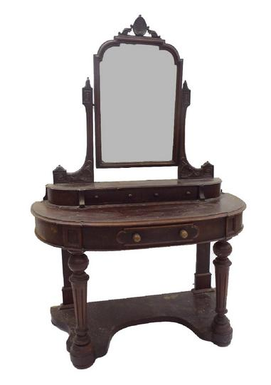19th century duchess dressing table, the raised mirrored back upon two short drawers and base fitted with a single central drawe