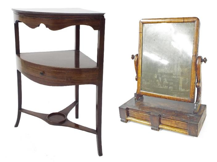 19th century mahogany corner washstand with foldover hinged top and undertier fitted with a single frieze drawer