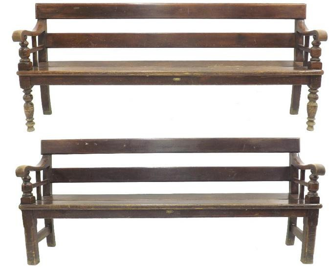 Good matched pair of antique railway station benches of typical form