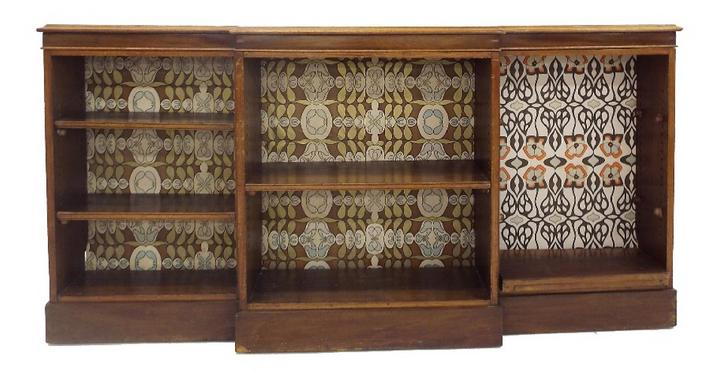 19th/20th century mahogany breakfront bookcase fitted with various shelves