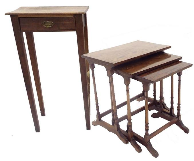 Regency style mahogany nest of three tables; together with a small single drawer side table