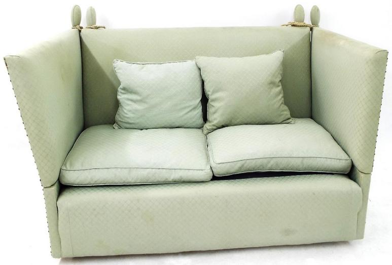 Knole sofa with emerald green diaper upholstery