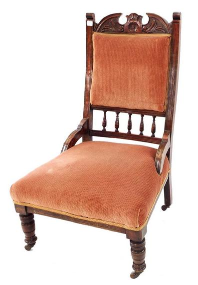 Early 20th century Edwardian salon chair with stuffover back and seat
