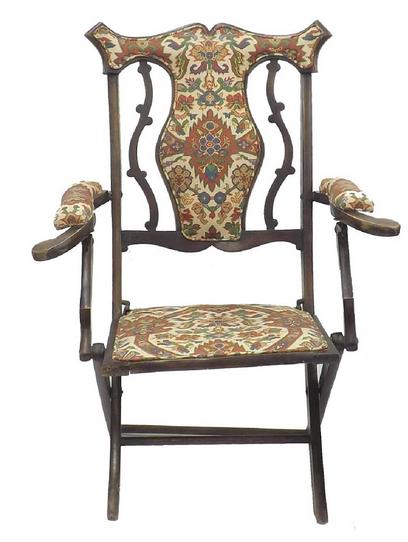 Early 20th century folding stuffover campaign chair
