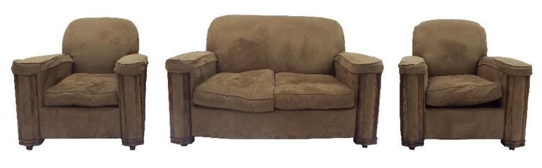 Art Deco brown suede upholstered three piece suite