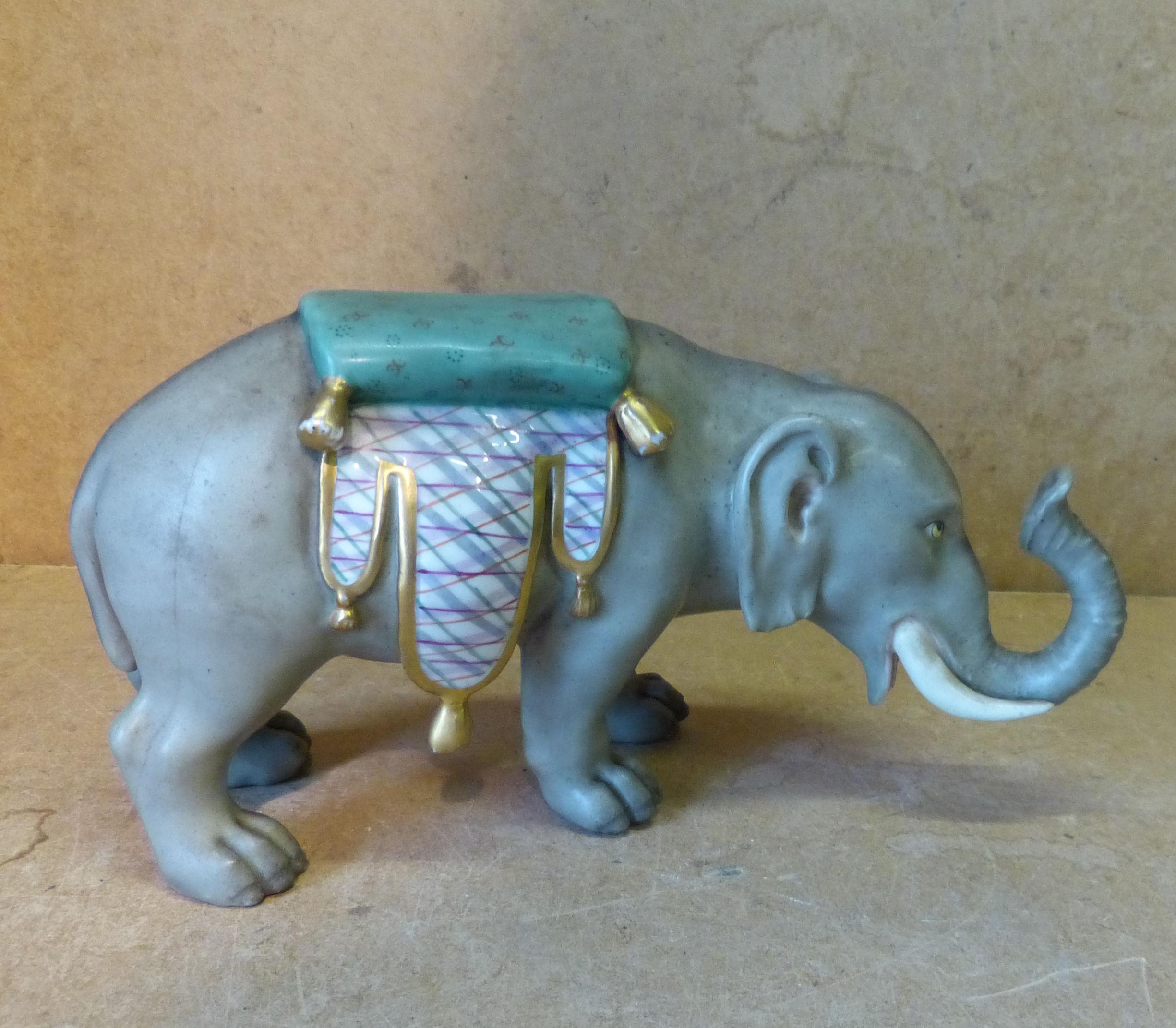 A Royal Dux Style Figure of an elephant
