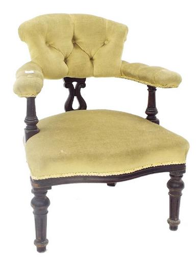 Late 19th century stuffover bedroom chair, the padded top over lyre shaped vertical splat and serpentine seat