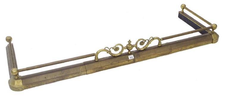 Cast brass extending fire curb, with raised gallery rail
