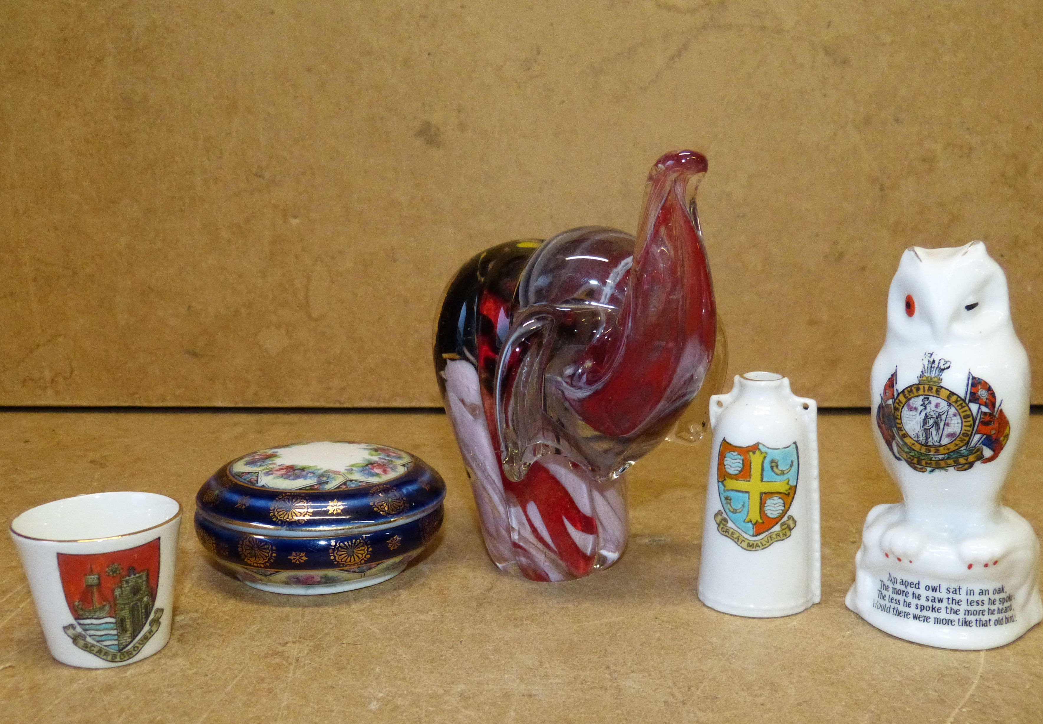 A Glass Paperweight in form of an elephant, 3 crested china items and a small trinket box with cover