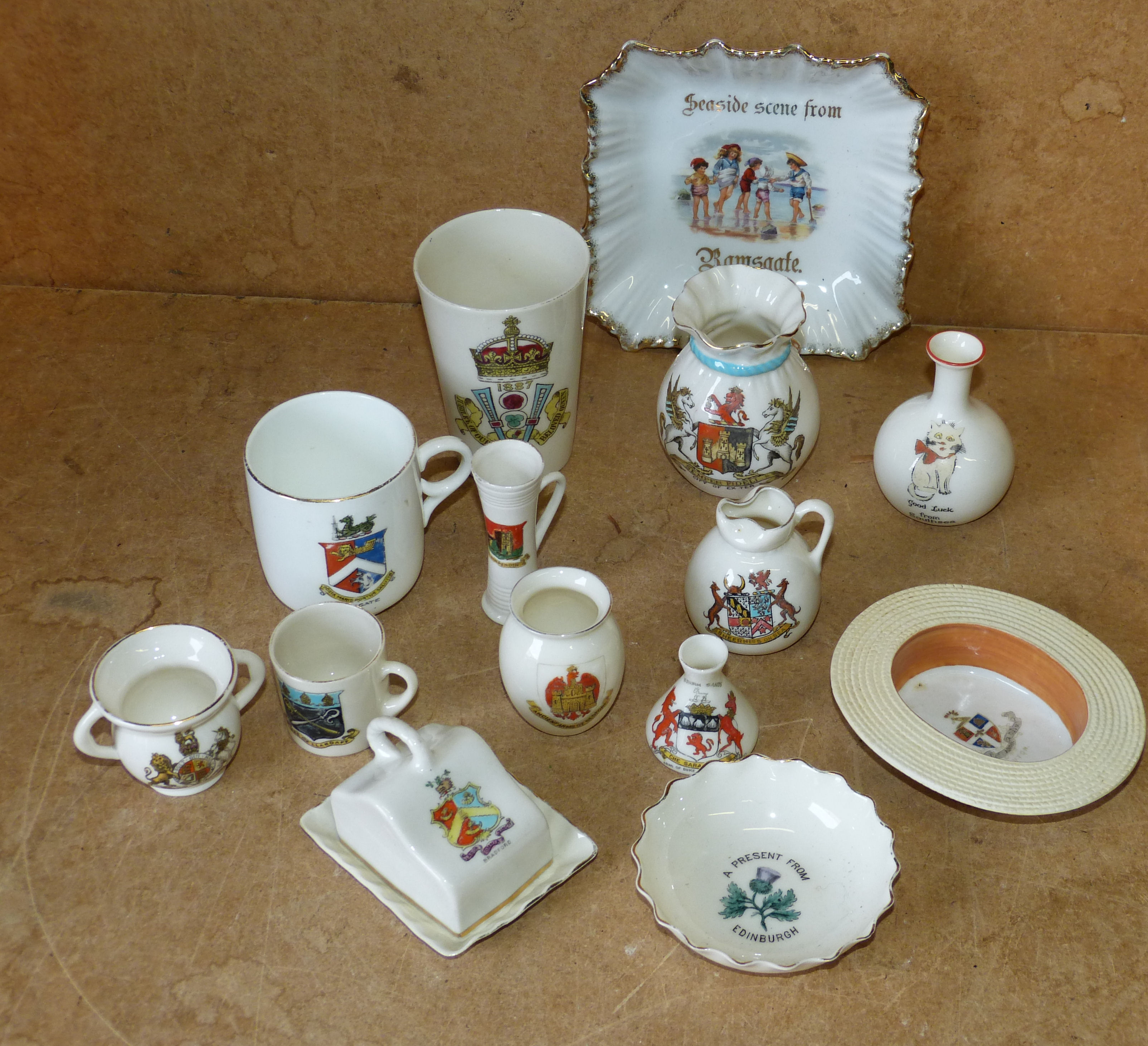 A Goss Crested Beaker and a quantity of various other crested china items
