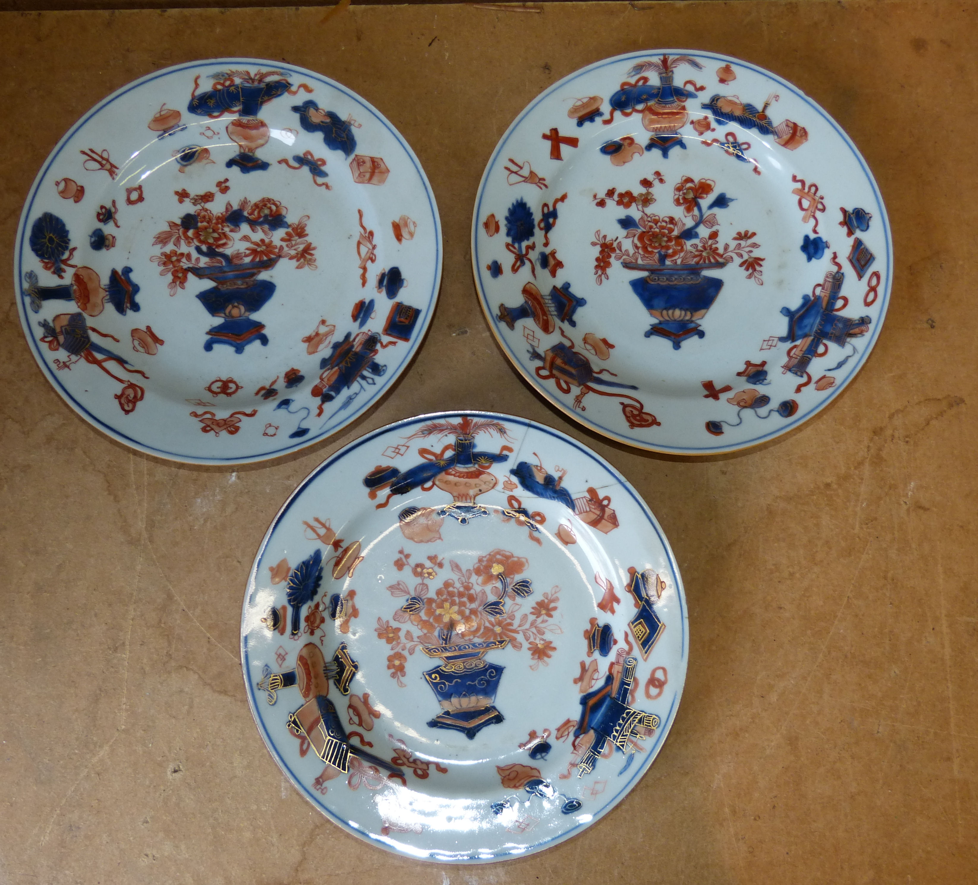A Set of 3 18th Century Chinese Plates on white
