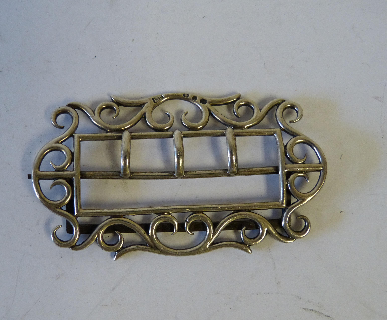 A Birmingham Silver Rectangular Buckle having pierced and scroll decoration, 1.3oz