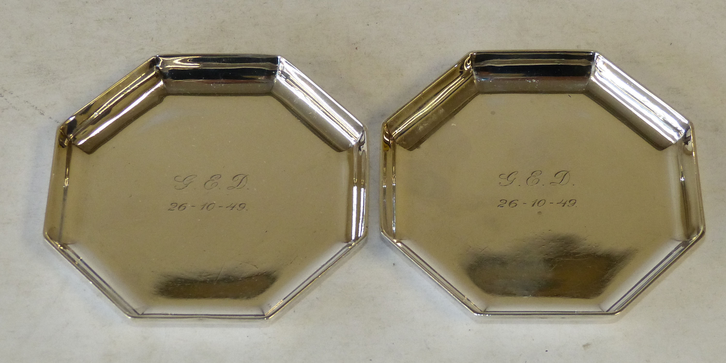 A Pair of London Heavy Silver Octagonal Shaped Small Dishes, makers mark HP, 5.3oz
