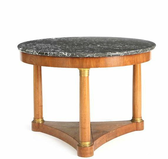 A Charles X style mahogany occasional table with a grey marble top