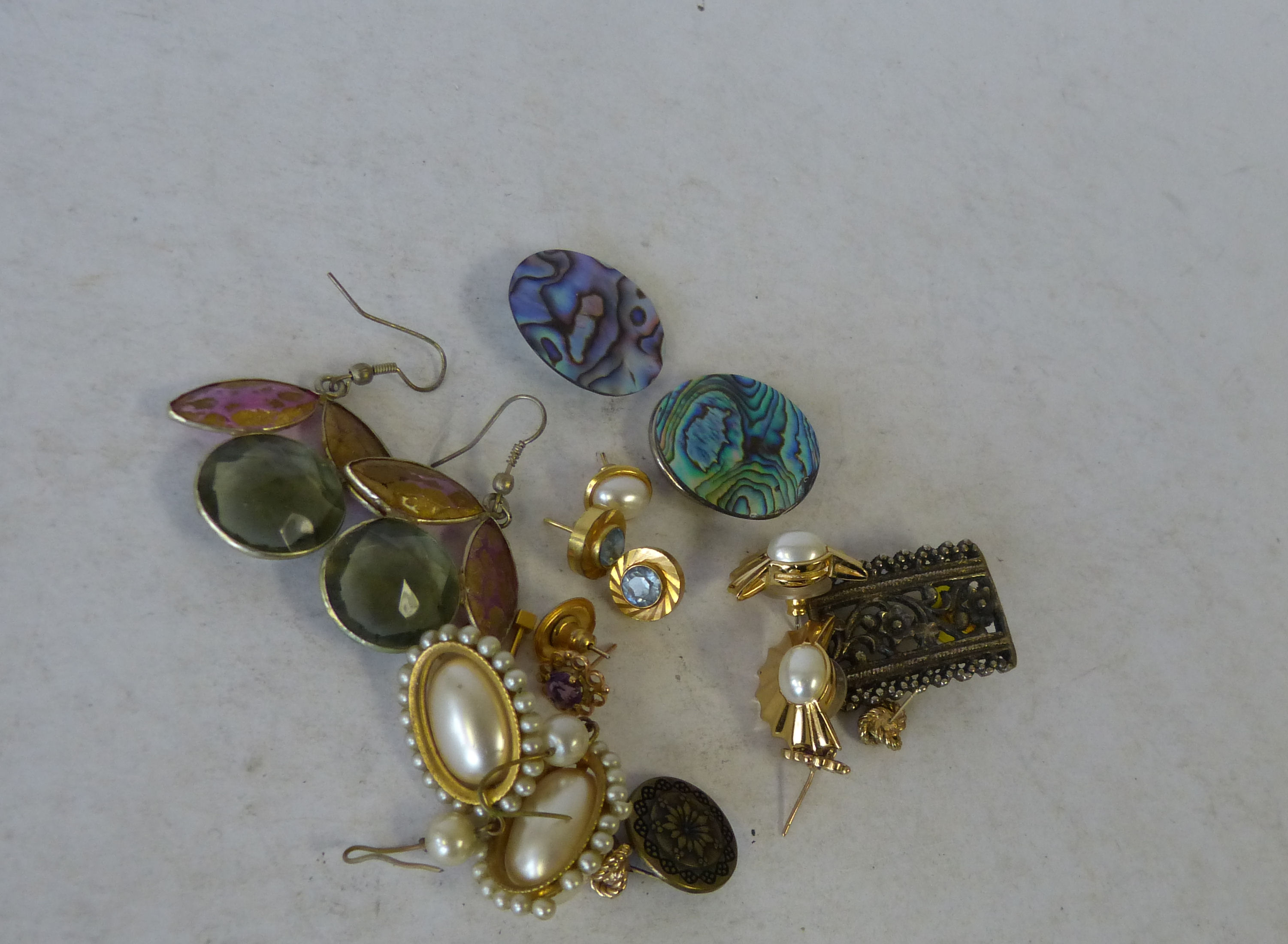 A Pair of Amethyst Gold Earrings and a quantity of various other earring