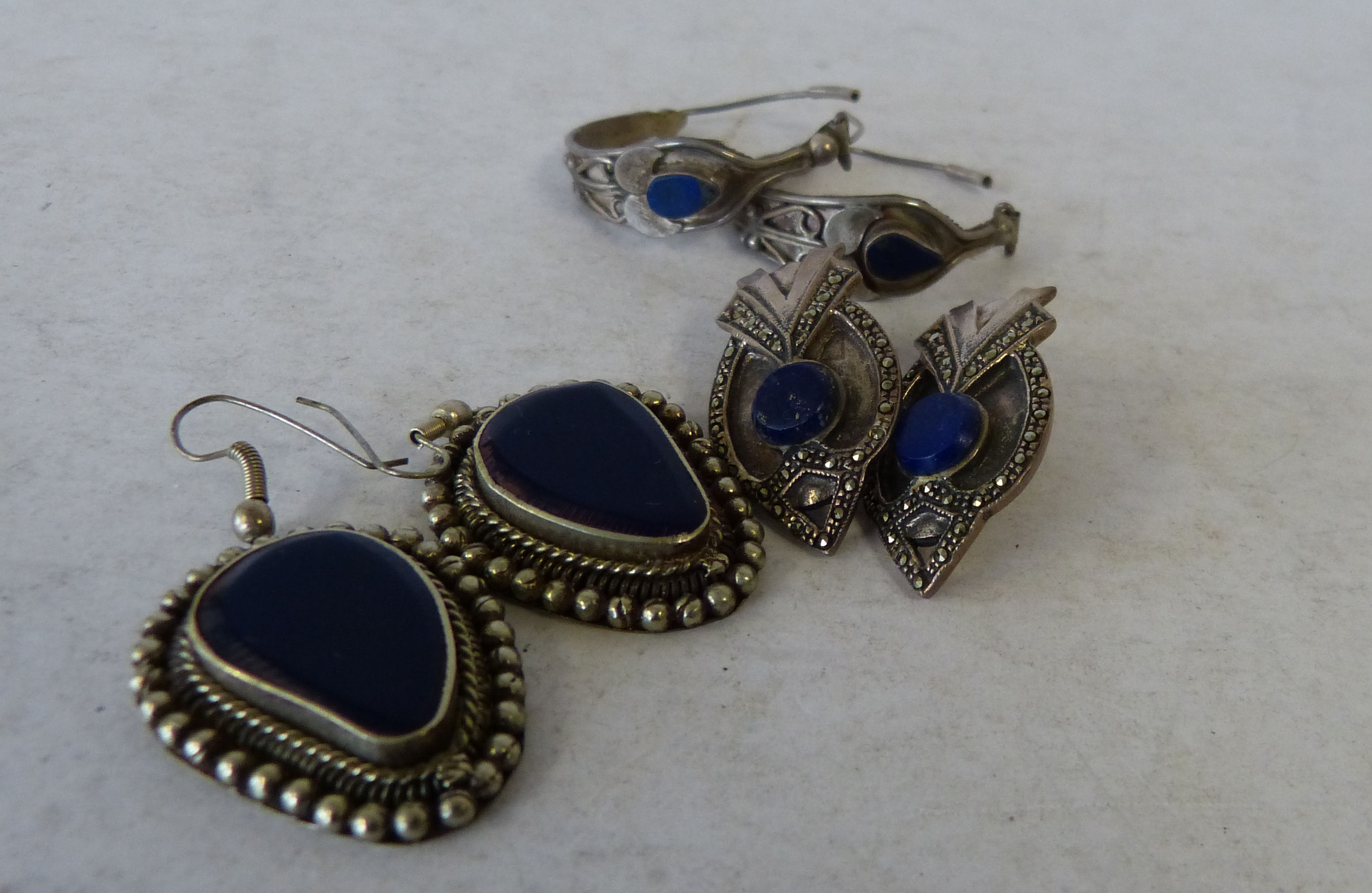 A Pair of Silver and Lapis Lazuli Drop Earrings also 2 other similar pairs of Lapis Lazuli earrings